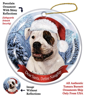 American Bulldog Brindle Eye Holiday Ornament Made In The Usa